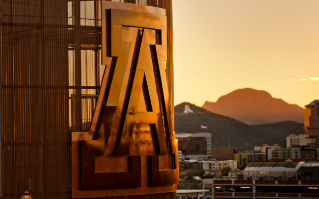 Arizona Stadium toward downtown Tucson at sunset