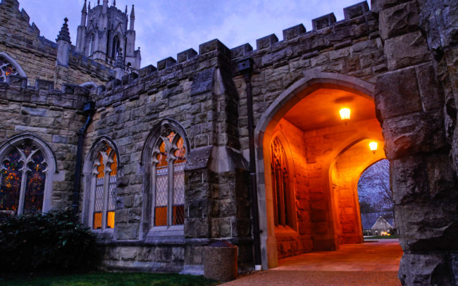 All Saints Chapel archway and stained glass before sunrise